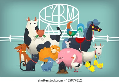 Vector illustration card with animals and birds standing near gates inviting to visit a farm yard.
