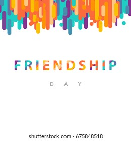 Vector illustration card with colourful text for friendship day. - stock vector