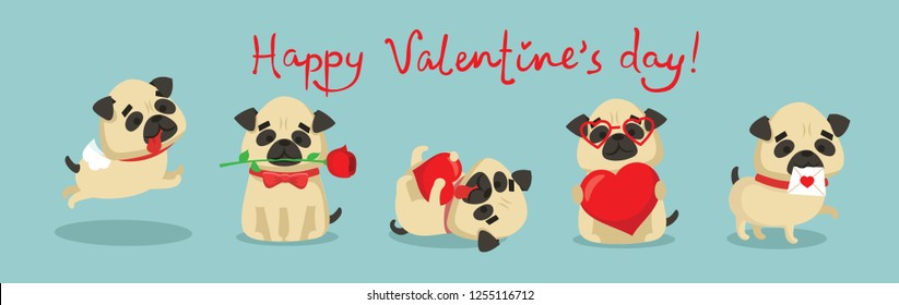Vector illustration card with cute cartoon little Valentine pug-puppy dogs in love and funny greeting text Happy Valentine's Day