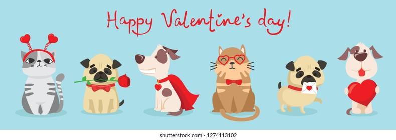 矢量插画卡片搭配可爱卡通小情人节猫狗爱情搞笑问候文情人节快乐