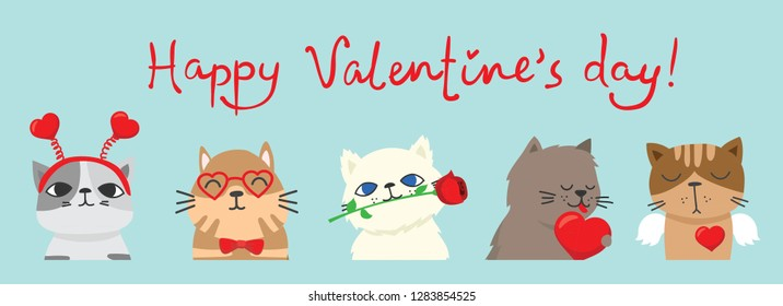 Vector illustration card with cute cartoon little Valentine puppy cat and dog in love for greeting card in flat style