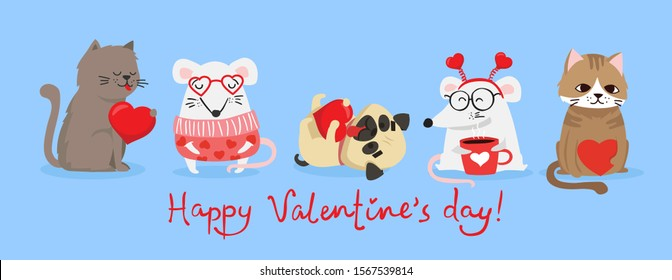 Vector illustration card with cute cartoon little Valentine cats, dogs, rats in love and funny greeting text Happy Valentine's Day