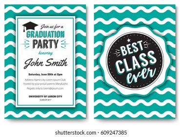 Vector illustration of the card with graduation party invitation on the wavy pattern.