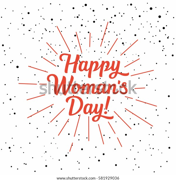 Vector illustration card with lettering - happy women's day , frame from doodle branches.