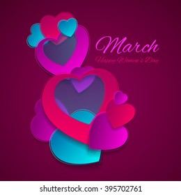 Vector illustration of a card on March 8 in the form of heart