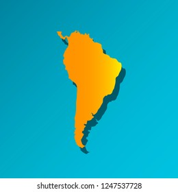 Vector illustration card with orange silhouette of South America. Blue background