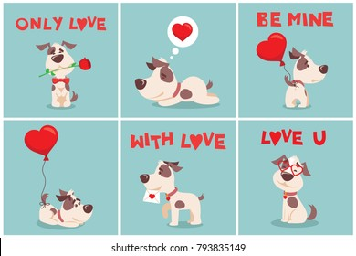 Vector illustration card set with cute cartoon little Valentine dog-puppy in love and funny greeting text