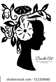 Vector illustration card silhouette of a girl with flowers in her hair. Beauty and fashion.
