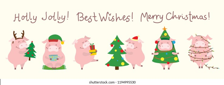 Vector illustration card with the symbol of the year - yellow pig with christmas gifts and funny hand drawn christmas greeting