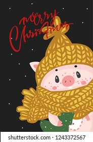 Vector illustration card with the symbol of the year - yellow pig with christmas gifts. Hog swine sow animal. Sweet piggy. Cute cartoon funny baby character in new year cap. Chinese symbol of 2019