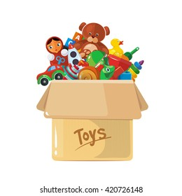 Vector illustration of cardboard box for children toys. Picture  isolate on white background.