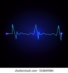 Vector Illustration of a Cardiac Frequency on dark blue background