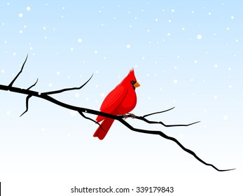 Vector illustration of a cardinal perched on a branch in a snowy winter scene.