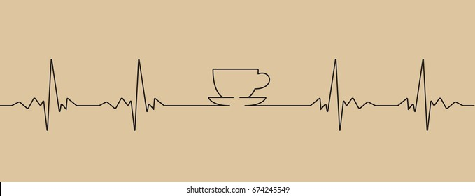 Vector illustration of cardiogram with coffee cup shape