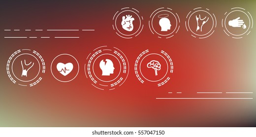 vector illustration / cardiovascular system problems icons set on blurry background / heart attack medical symptoms of disorders / horizontal banner