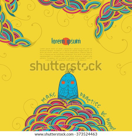 Vector Illustration Of Cards Funny Bird In A Yoga Lotus Pose Padmasana For Design