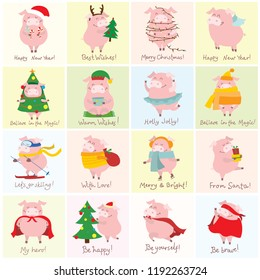Vector illustration cards with the symbol of the year - yellow pig with christmas gifts and funny hand drawn christmas greeting