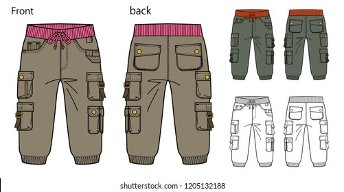 Vector illustration of Cargo Pants Front and back views for kid.