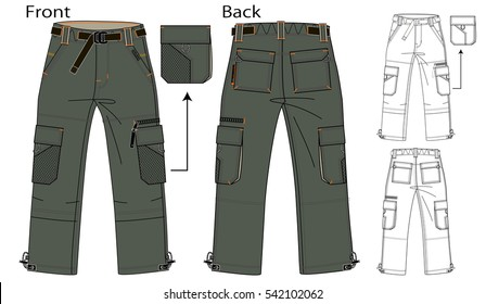 Vector illustration of cargo pants. Front and back views