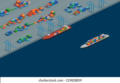 A vector illustration of a cargo port in isometric format. Editable with objects logically layered. The scene features containers, cranes, etc./Isometric Cargo Port