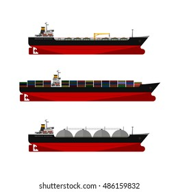 Vector illustration. cargo ships set. Oil, gas tanker. Container ship.