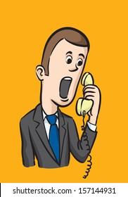 Vector illustration of Caricature businessman on the phone. Easy-edit layered vector EPS10 file scalable to any size without quality loss. High resolution raster JPG file is included.