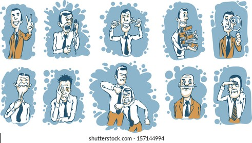 Vector illustration of Caricature businessmen in various situations. Easy-edit layered vector EPS10 file scalable to any size without quality loss. High resolution raster JPG file is included.
