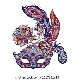 vector illustration of a carnival blue mask for theater and festivals, colorful bright Venetian mask decorated with flowers and feathers on a white background for design