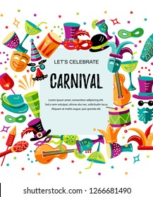 Vector illustration with carnival and celebratory objects. Template for carnival, invitation, poster, flayer, funfair. Flat style.
