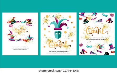 Vector illustration with carnival and celebratory objects. Handwritten lettering Carnival. Template for carnival, invitation, poster, ticket, flayer, funfair. Flat style.