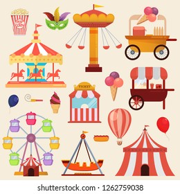 Vector illustration of the carnival funfair design elements
