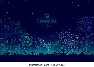 Vector illustration of the carnival funfair design with fireworks background.