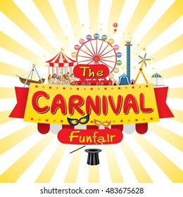 Vector illustration of the carnival funfair design.