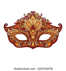 vector illustration of carnival golden mask for theater and festivals, colorful bright Venetian mask decorated with floral ornaments on white background for design