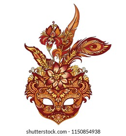 vector illustration of carnival golden mask for theater and festivals, colorful bright Venetian mask decorated with flowers and feathers on a white background for design