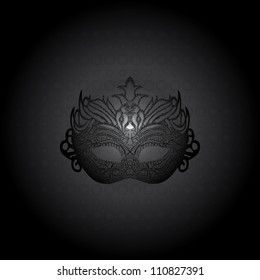 Vector illustration carnival mask on black background.