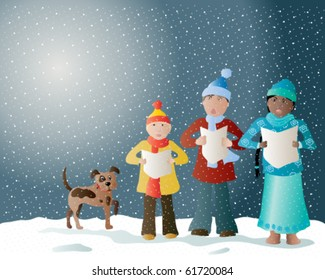 vector illustration of carol singers in the snow with their pet dog in eps10 format