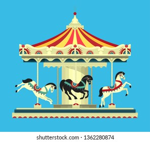Vector illustration, Carousel with horses at the amusement fair and circus performances of carnival shows on a blue background