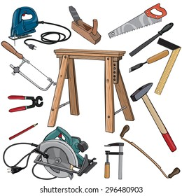 Vector illustration, carpenter tools, cartoon concept, white background.
