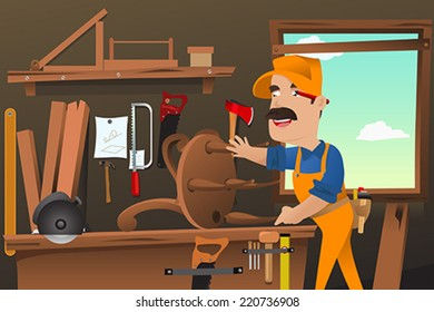 A vector illustration of carpenter working making a chair at the workshop