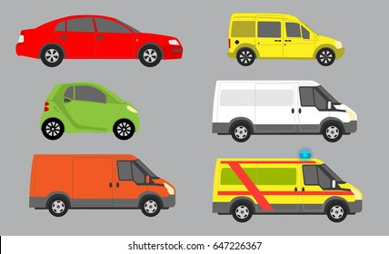 Vector illustration of cars from side