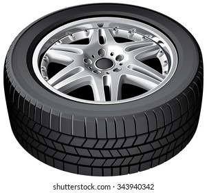 Vector illustration of cars wheel, isolated on white background. File contains gradients. No strokes, blends and transparency.