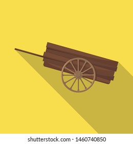 Vector illustration of cart and wood sign. Collection of cart and wheel vector icon for stock.