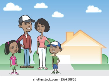 Vector illustration of cartoon african-american family and house. Easy-edit layered vector EPS10 file scalable to any size without quality loss. High resolution raster JPG file is included.
