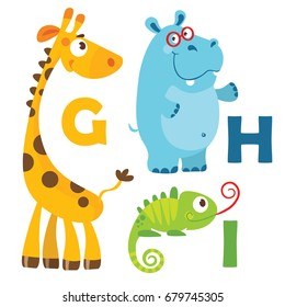 Vector illustration of cartoon animals. Alphabet design in a colorful style. Education card for children. Letter I, H, G. Giraffe, iguana, hippopotamus