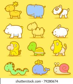 Vector illustration, cartoon animals ,cute doodle