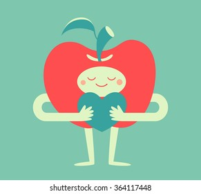 Vector illustration of a cartoon apple character holding a heart symbol in its arms.