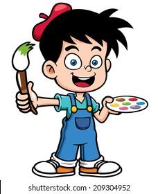 Vector illustration of Cartoon artist boy