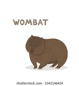 Vector illustration, a cartoon Australian wombat, isolated on a white background. Animal alphabet.