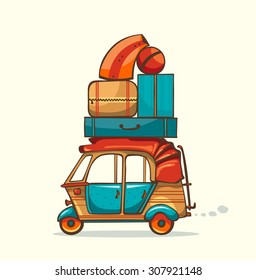 Vector illustration - cartoon auto rickshaw with summer luggage. Vacation trip.